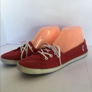 Vans Shoes - Vans size 8 canvas red white shoelaces rubber sole